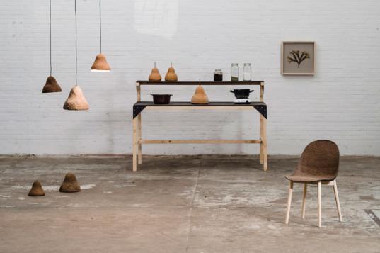 Arredametno moderno realizzato con alghe naturali e legno.