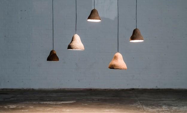 Arredamento, lampadario design realizzato con alghe naturali.