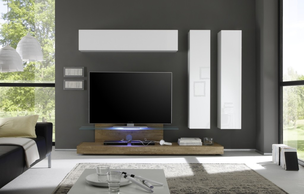 Soggiorni moderni di tendenza le nuove pareti attrezzate for Parete attrezzata moderna outlet