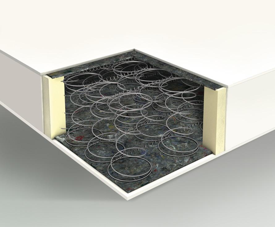 Struttura del materasso a molle tradizionale con struttura box system