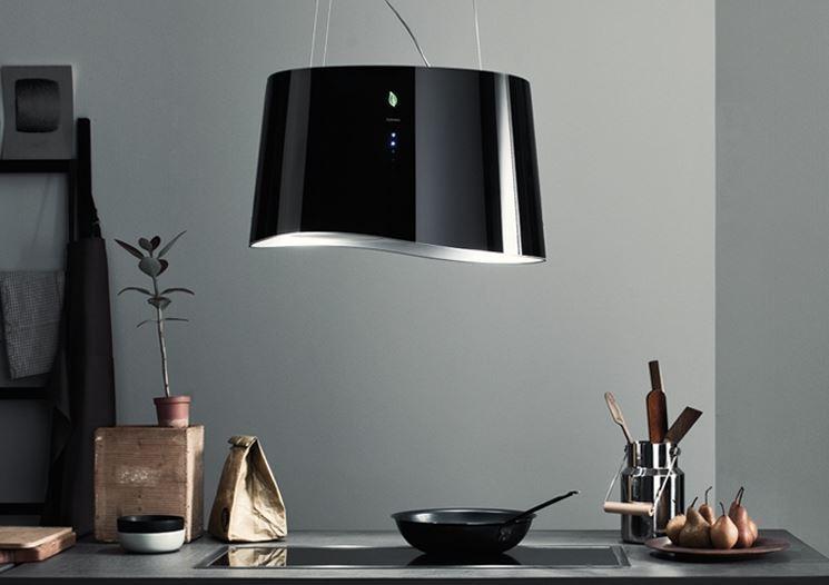 Cappa ionizzante nera sospesa design moderno