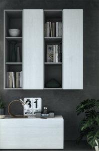 Dettaglio di una parete attrezzata Touch, con libreria sospesa rifinita in essenza di olmo bianco e platino opaco