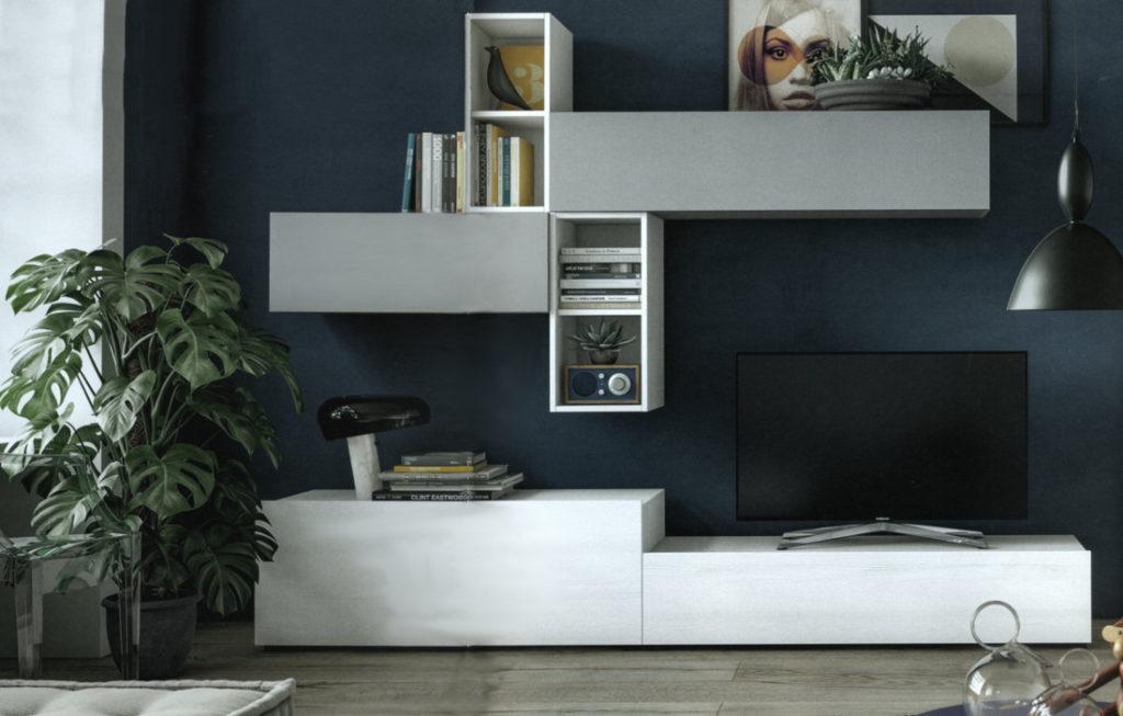 Parete attrezzata in platino opaco ed essenza effetto olmo bianco, con porta-tv e librerie sospese. Tutte le ante sono equipaggiate di serie con rallentatori di chiusura.