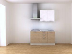 Cucina 150 cm moderna rovere e bianco