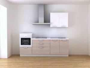 Cucina componibile moderna 240 cm con colonna forno