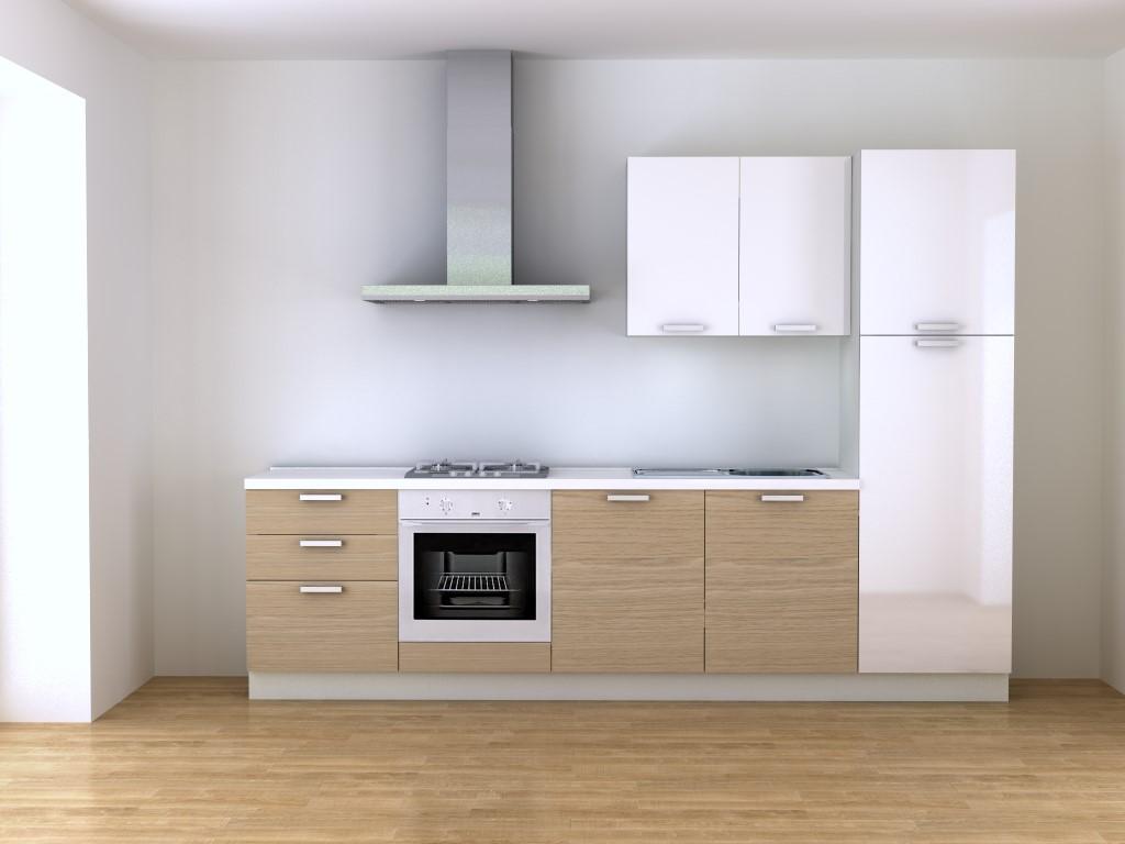 Cucina 3 metri componibile bianca e rovere vendita online