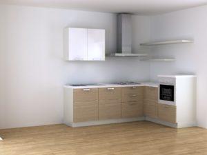 Cucina ad angolo componibile legno e bianca