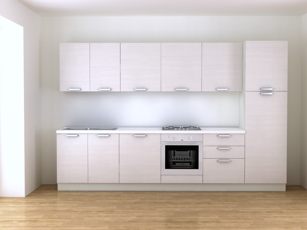 Cucina bianca 3 30 metri effetto legno in vendita online for Cucine lago opinioni