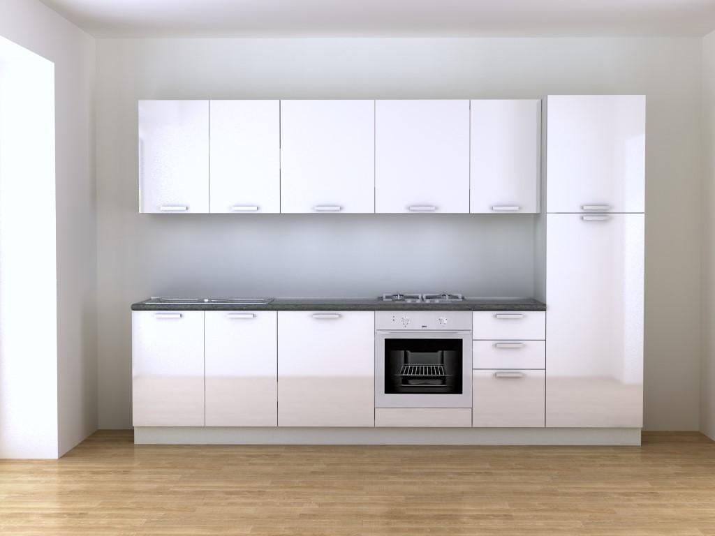 Cucina bianca laccata lucida 3 m e 15 cm - Blog Outlet Arreda ...